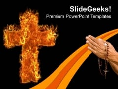 Burning Cross Worship Church PowerPoint Templates And PowerPoint Themes 0712