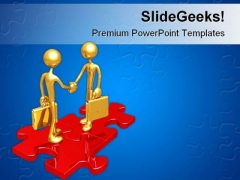 Business Connection Puzzle Handshake PowerPoint Themes And PowerPoint Slides 0511