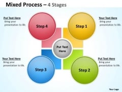 Business Diagram Mixed Process 4 Step For Sales Strategic Management