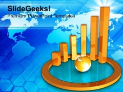 Business Graph With Globe Financial Strategy PowerPoint Templates Ppt Backgrounds For Slides 0213