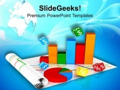 Business Growth Pie And Bar Chart PowerPoint Templates Ppt Backgrounds For Slides 0513