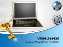 Business Key Chained To Laptop PowerPoint Templates Ppt Backgrounds For Slides 0213