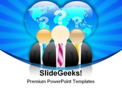 Business Man And Earth People PowerPoint Background And Template 1210