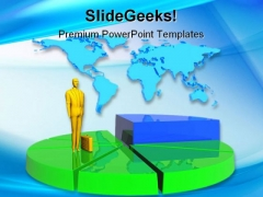Business Man And Pie Global PowerPoint Background And Template 1210