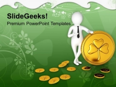 Business Man Presenting Golden Shamrock Coin PowerPoint Templates Ppt Backgrounds For Slides 0313