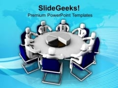 Business Meeting With Pie Chart PowerPoint Templates Ppt Backgrounds For Slides 0713