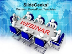 Business Men Discussing On Webinar PowerPoint Templates Ppt Backgrounds For Slides 0313