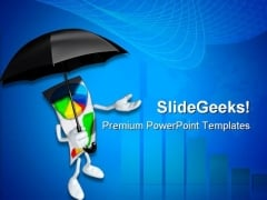 Business Report With Umbrella Success PowerPoint Themes And PowerPoint Slides 0611