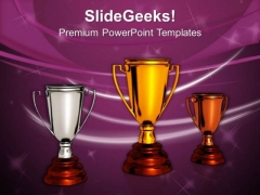 Business Winners With Golden Bronze Trophy PowerPoint Templates Ppt Backgrounds For Slides 0313