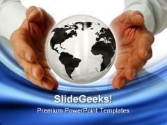 Business With Globe Handshake PowerPoint Templates And PowerPoint Backgrounds 1011