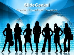 Business Woman Global PowerPoint Templates And PowerPoint Backgrounds 0511