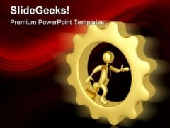 Businessman In Gears Industrial PowerPoint Themes And PowerPoint Slides 0411