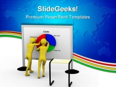 Businessman Pushing Costs Marketing PowerPoint Templates And PowerPoint Backgrounds 0511