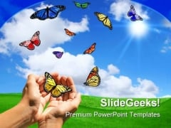 Butterflies Nature PowerPoint Template 0810