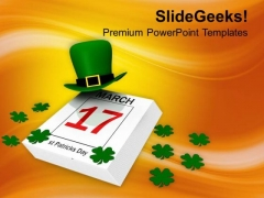 Calendar Of St Patricks Day And Clover PowerPoint Templates Ppt Backgrounds For Slides 0213