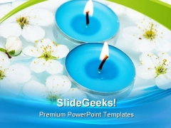 Candle With Spring Flowers Beauty PowerPoint Themes And PowerPoint Slides 0311