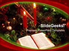 Candles Bible Christmas PowerPoint Template 0610