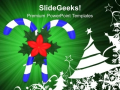 Candy And Christmas Tree Celebration PowerPoint Templates Ppt Backgrounds For Slides 0413