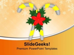Candy Cane With Flowers Christmas PowerPoint Templates Ppt Backgrounds For Slides 0113