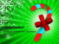 Candy Cane With Red Ribbon PowerPoint Templates Ppt Backgrounds For Slides 1212