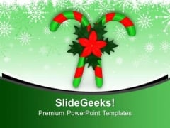 Candy Canes And Holy Flowers PowerPoint Templates Ppt Backgrounds For Slides 0113