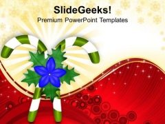 Candy Canes New Year Concept PowerPoint Templates Ppt Backgrounds For Slides 1212