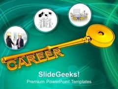 Career Key Golden PowerPoint Templates And PowerPoint Themes 1012