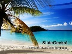 Caribbean Island Beach PowerPoint Template 1010
