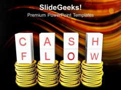 Cash And Flow On Golden Coins Failure PowerPoint Templates Ppt Backgrounds For Slides 0213