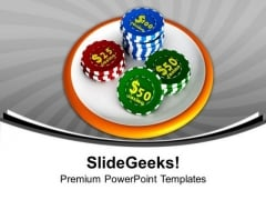 Casino Chip Icon Gambling PowerPoint Templates Ppt Backgrounds For Slides 0213