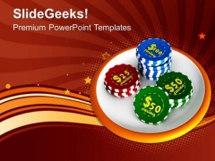 Casino Chips Gambling Save Money PowerPoint Templates Ppt Backgrounds For Slides 0313