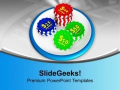 Casino Chips On White Background PowerPoint Templates Ppt Backgrounds For Slides 0313