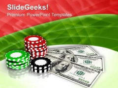 Casino Chips With Dollars Game Theme PowerPoint Templates Ppt Backgrounds For Slides 0413