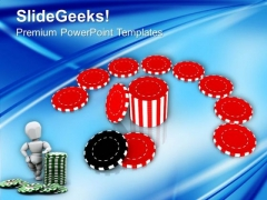 Casino Poker Chips Benefit Finance PowerPoint Templates Ppt Backgrounds For Slides 0213