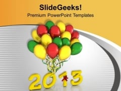 Celebrate New Year With Colorful Balloons PowerPoint Templates Ppt Backgrounds For Slides 0513