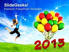 Celebration Theme With Balloons 2013 PowerPoint Templates Ppt Backgrounds For Slides 0413