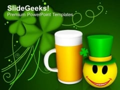 Celebration With Smiley Wearing Shamrock Hat PowerPoint Templates Ppt Backgrounds For Slides 0213