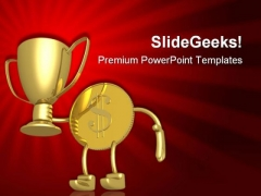 Champion Gold Coin Business PowerPoint Templates And PowerPoint Backgrounds 0511
