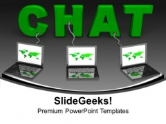 Chat Connected With Laptops Internet Technology PowerPoint Templates Ppt Backgrounds For Slides 1212