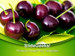 Cherries On Cherry Leaf Food PowerPoint Templates And PowerPoint Backgrounds 0211