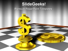 Chess And Dollar Game PowerPoint Template 0910