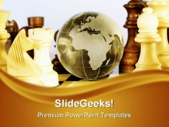 Chess And Globe Game PowerPoint Templates And PowerPoint Backgrounds 0211