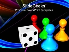Chess Board With Dice Game PowerPoint Templates And PowerPoint Themes 0712