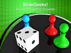 Chess Board With Dice Marketing PowerPoint Templates And PowerPoint Themes 0612