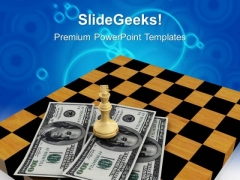 Chess Figures On Dollars And Chessboard Americana PowerPoint Templates And PowerPoint Themes 1012
