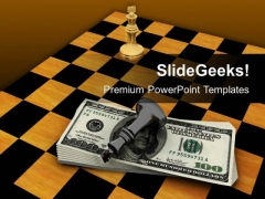 Chess Figures On Us Dollars Business PowerPoint Templates And PowerPoint Themes 1012