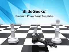 Chess King Checkmate Business Strategy PowerPoint Templates Ppt Backgrounds For Slides 0213