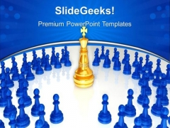 Chess King Surrounded Game PowerPoint Templates And PowerPoint Themes 0612