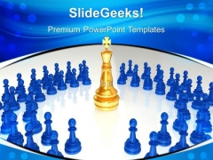 Chess King Surrounded Leadership PowerPoint Templates And PowerPoint Themes 0612