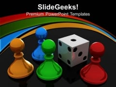 Chess Pawns With Dice Game PowerPoint Templates And PowerPoint Themes 0612